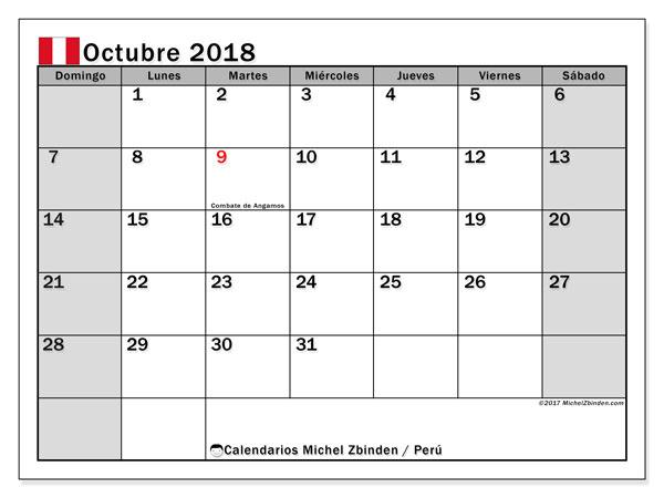 Calendario octubre 2018, con los días feriados para Perú. Calendario para imprimir gratis.