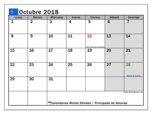 Calendario octubre 2018, con los días festivos del Principado de Asturias. Calendario para el mes para imprimir gratis.