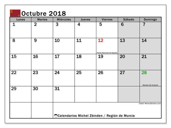 Calendario octubre 2018, con los días festivos en la Región de Murcia. Calendario para el mes para imprimir gratis.