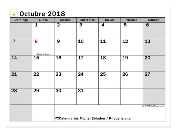 Calendario octubre 2018, con los días feriados en Rhode Island. Calendario gratuito para imprimir.