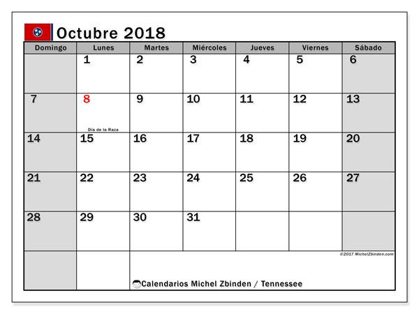 Calendario octubre 2018, con los días feriados en Tennessee. Almanaque para imprimir gratis.