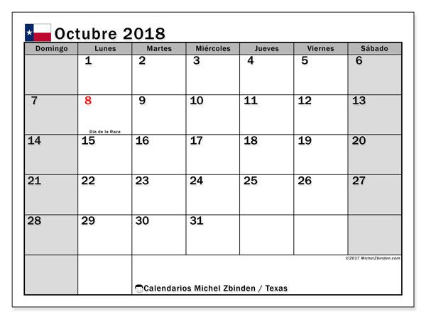 Calendario octubre 2018, con los días feriados en Texas. Planificación para imprimir gratis.
