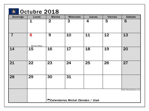 Calendario octubre 2018, con los días feriados en Utah. Calendario imprimible gratis.