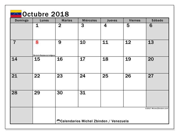 Calendario octubre 2018, con los días feriados para Venezuela. Calendario para el mes para imprimir gratis.