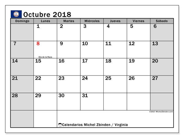 Calendario octubre 2018, con los días feriados en Virginia. Calendario para imprimir gratis.