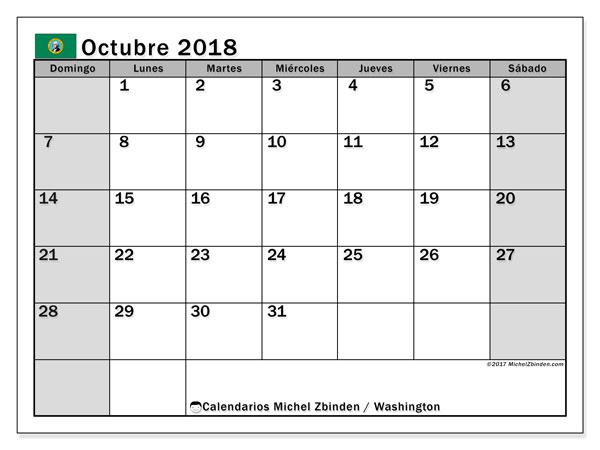 Calendario octubre 2018, con los días feriados en Washington. Almanaque para imprimir gratis.