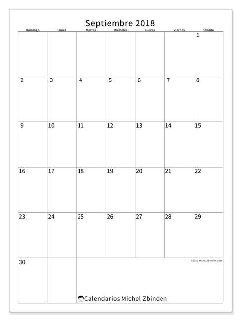 Calendario  septiembre de 2018, 52DS
