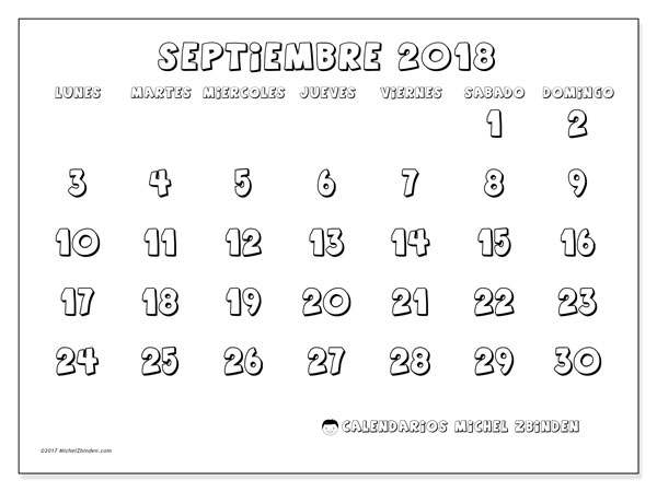 Calendario septiembre 2018 (56LD) - Michel Zbinden (es)