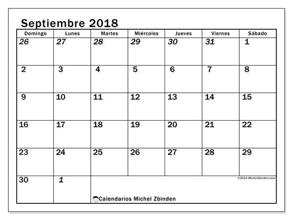 Calendario  septiembre de 2018, 66DS