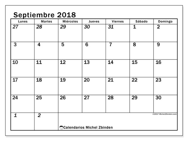 calendario septiembre 2018 para imprimir