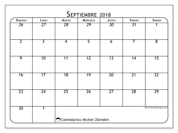 Calendario  septiembre de 2018, 67DS