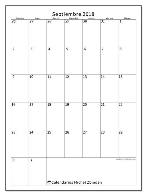 Calendario  septiembre de 2018, 68DS