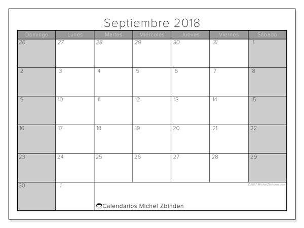 Calendario  septiembre de 2018, 69DS