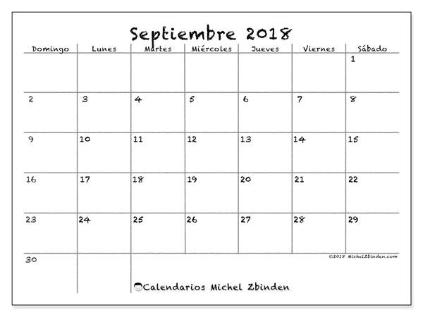 Calendario  septiembre de 2018, 77DS