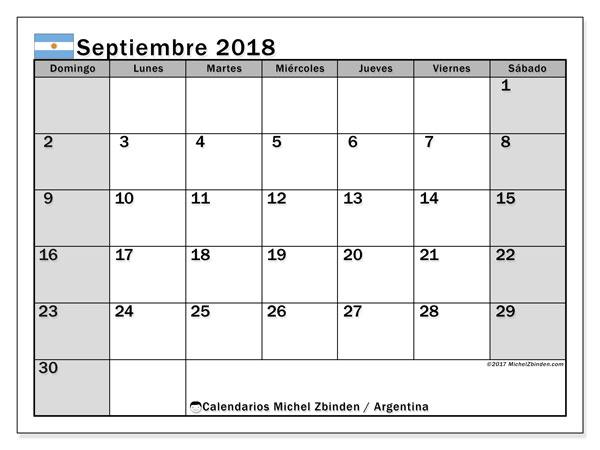Calendario septiembre 2018, con los días feriados en Argentina. Calendario para imprimir gratis.