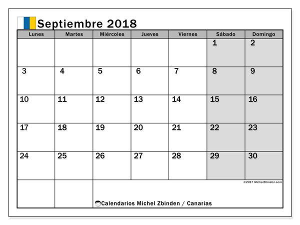Calendario septiembre 2018, con los días festivos de las Islas Canarias. Calendario imprimible gratis.