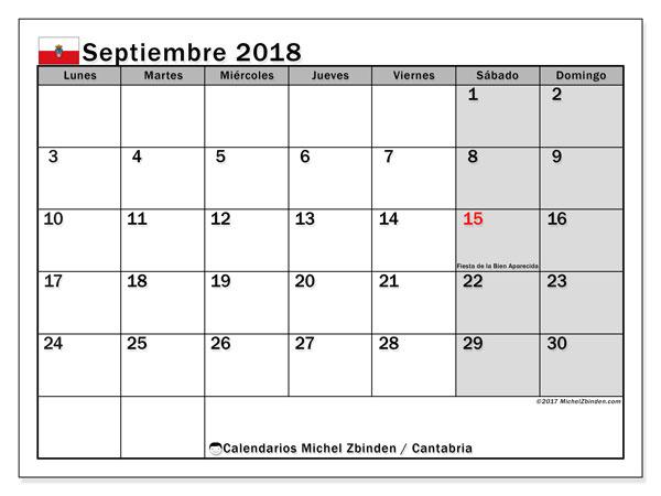 Calendario septiembre 2018, con los días festivos de Cantabria. Calendario gratuito para imprimir.