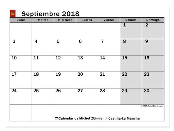 Calendario septiembre 2018, con los días festivos de Castilla-La Mancha. Calendario para imprimir gratis.