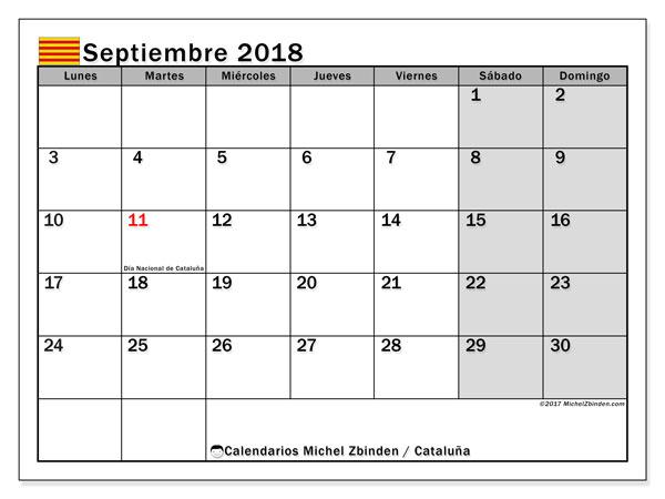 Calendario septiembre 2018, con los días festivos de Cataluña. Calendario gratuito para imprimir.