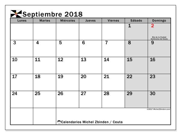 Calendario septiembre 2018, con los días festivos de Ceuta. Calendario gratuito para imprimir.