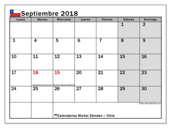 Calendario septiembre 2018, con los días feriados para Chile. Calendario mensual para imprimir gratis.