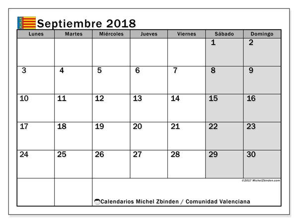 Calendario septiembre 2018, con los días festivos de la Comunidad Valenciana. Almanaque para imprimir gratis.
