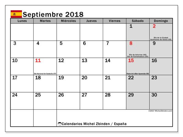 Calendario septiembre 2018, con los días festivos de España. Calendario gratuito para imprimir.