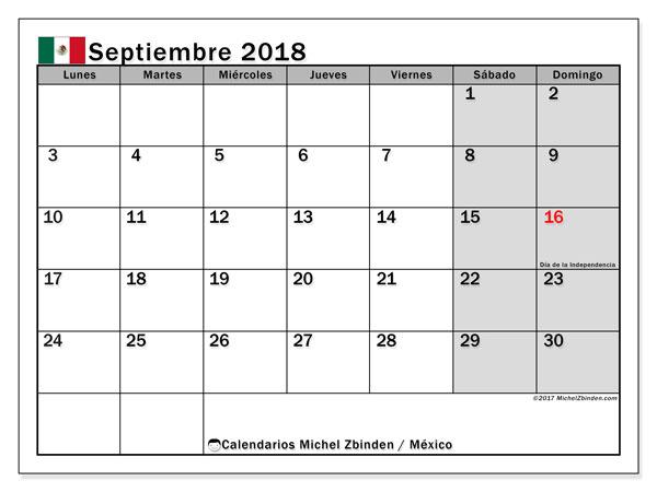Calendario septiembre 2018, con los días feriados en México. Calendario para el mes para imprimir gratis.