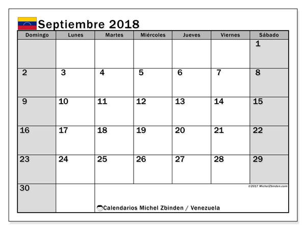 Calendario septiembre 2018, con los días feriados para Venezuela. Almanaque para imprimir gratis.