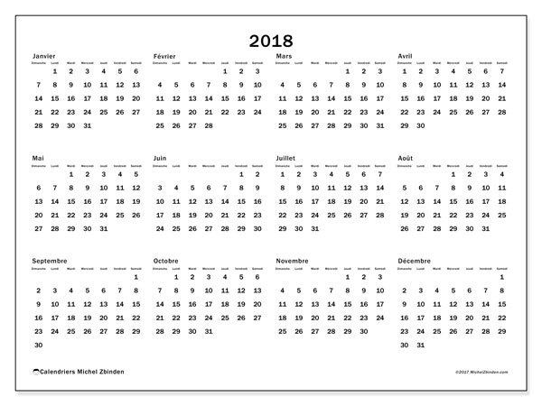 Calendrier 2018 (32DS). Organisateur à imprimer gratuit.