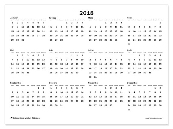 Calendrier 2018 (32LD)