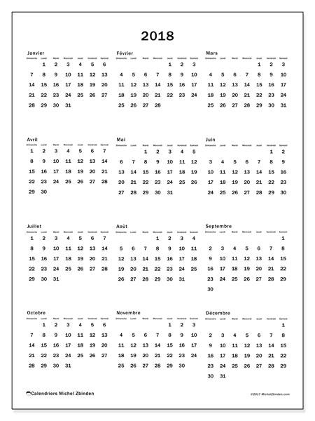 Calendrier 2018 (33DS). Calendrier annuel à imprimer gratuit.