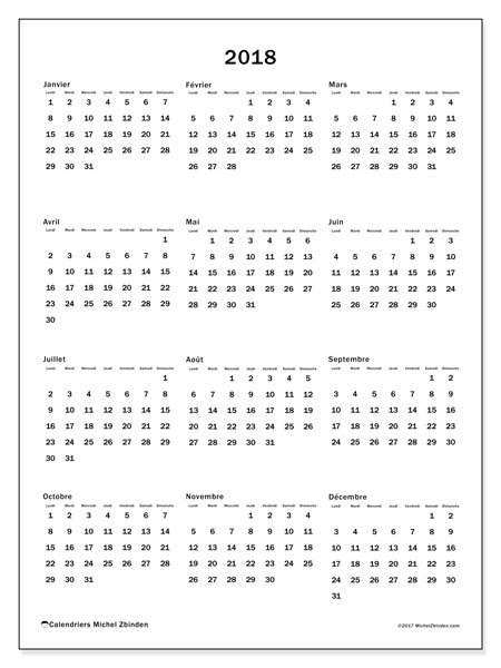 Calendrier 2018 (33LD)