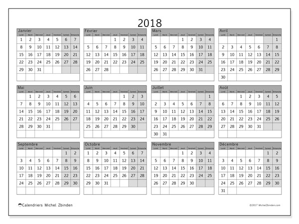 Calendrier 2018 (35LD)