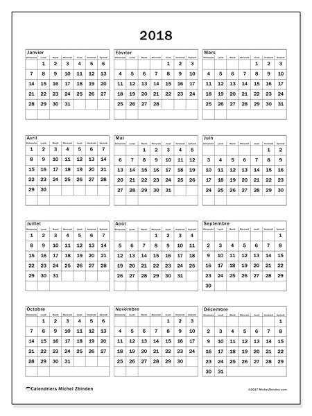 Calendrier 2018 (36DS). Calendrier gratuit à imprimer.