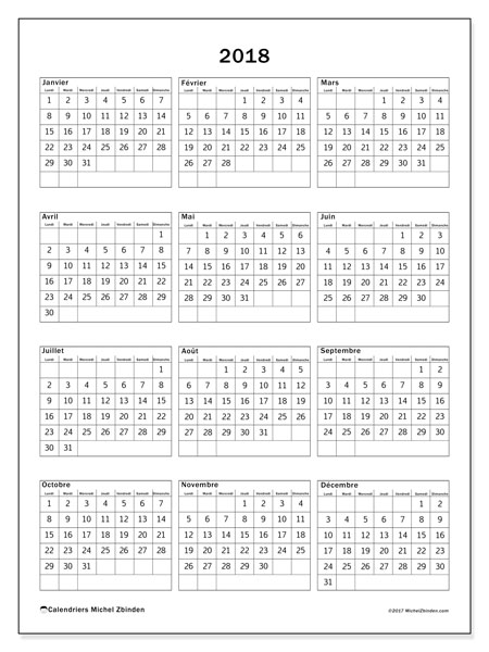 Calendrier 2018 (36LD)