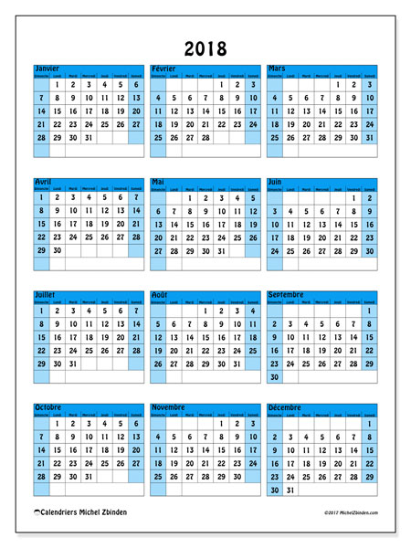 Calendrier 2018 (40DS). Planificateur à imprimer gratuit.