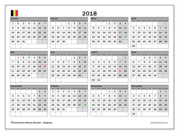 Calendrier à imprimer gratuit 2018, avec les jours fériés de la Belgique