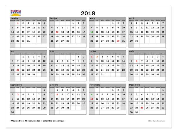 Calendrier 2018, avec les jours fériés de la Colombie-Britannique. Organisateur à imprimer gratuit.