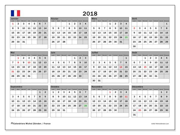 Calendrier à imprimer gratuit 2018, avec les jours fériés de la France