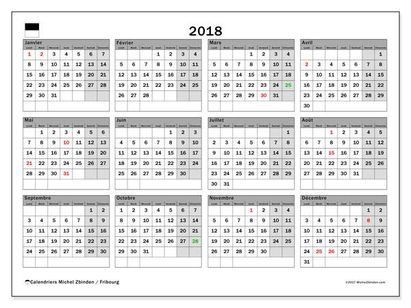 Calendrier 2018, avec les jours fériés du Canton de Fribourg. Calendrier imprimable gratuit.