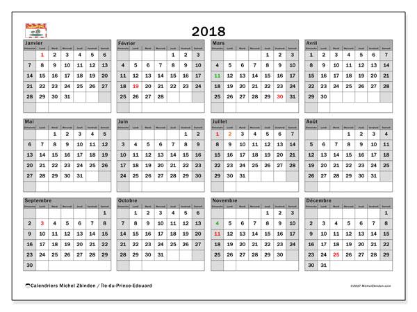 Calendrier à imprimer gratuit 2018, avec les jours fériés de l'Île-du-Prince-Edouard