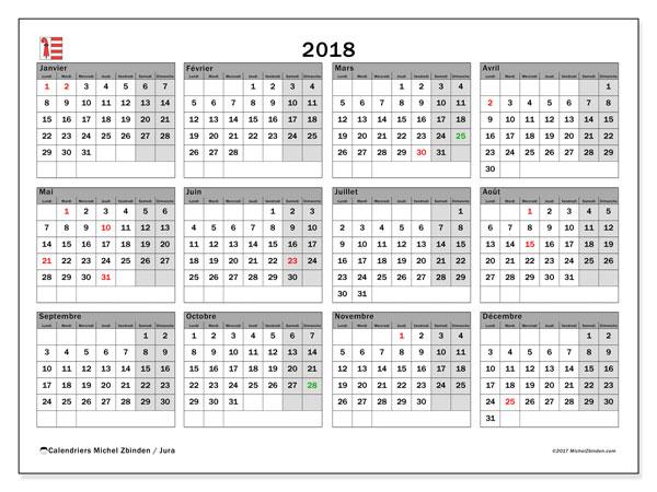 Calendrier 2018, avec les jours fériés du Canton du Jura. Calendrier à imprimer gratuit.