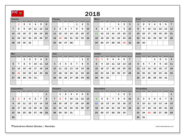 Calendrier 2018, avec les jours fériés du Manitoba. Calendrier à imprimer gratuit.