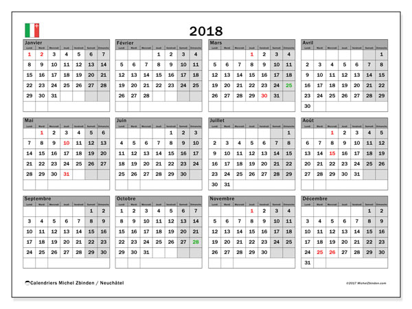 Calendrier 2018, avec les jours fériés du Canton de Neuchâtel. Calendrier imprimable gratuit.