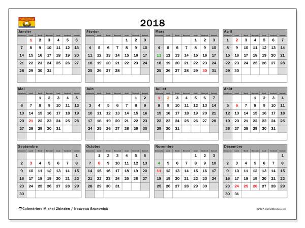 Calendrier 2018, avec les jours fériés du Nouveau-Brunswick. Calendrier mensuel à imprimer gratuit.