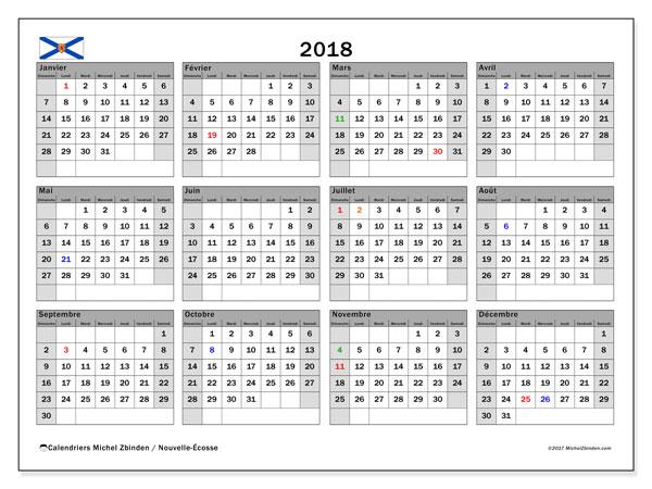 Calendrier à imprimer gratuit 2018, avec les jours fériés de la Nouvelle-Écosse