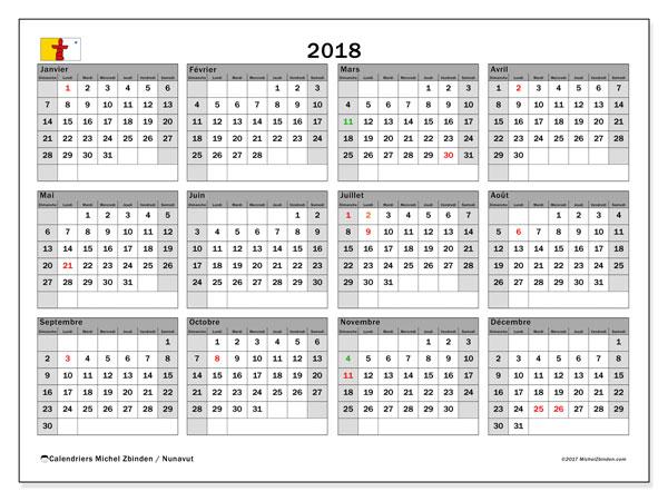 Calendrier 2018, avec les jours fériés du Nunavut. Calendrier imprimable gratuit.