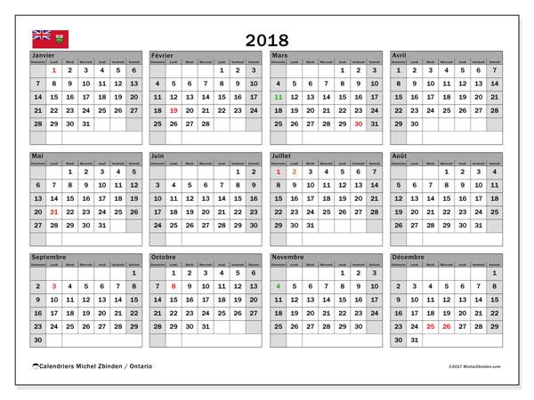 Calendrier à imprimer gratuit 2018, avec les jours fériés de l'Ontario