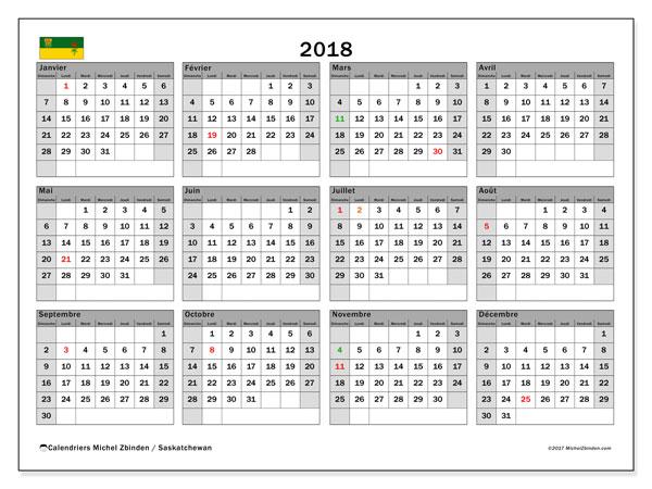 Calendrier 2018, avec les jours fériés de la Saskatchewan. Calendrier pour le mois à imprimer gratuit.